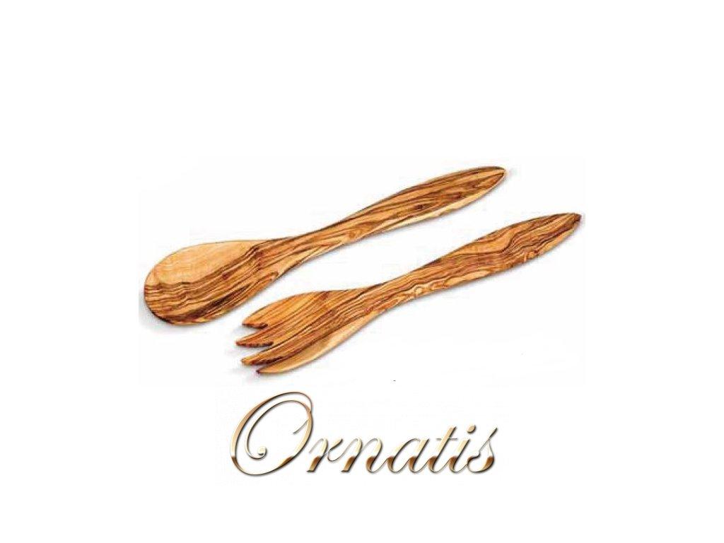 Dřevěný nůž a vidlička z olivového dřeva