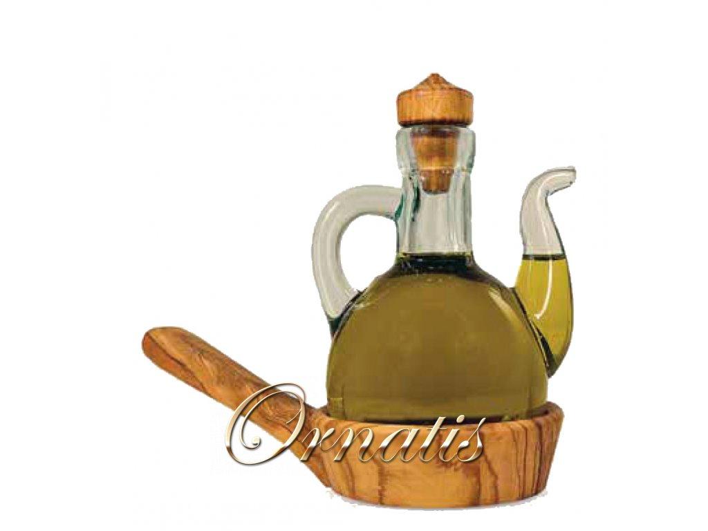 Dřevěný olivový podnos na karafu s olejem