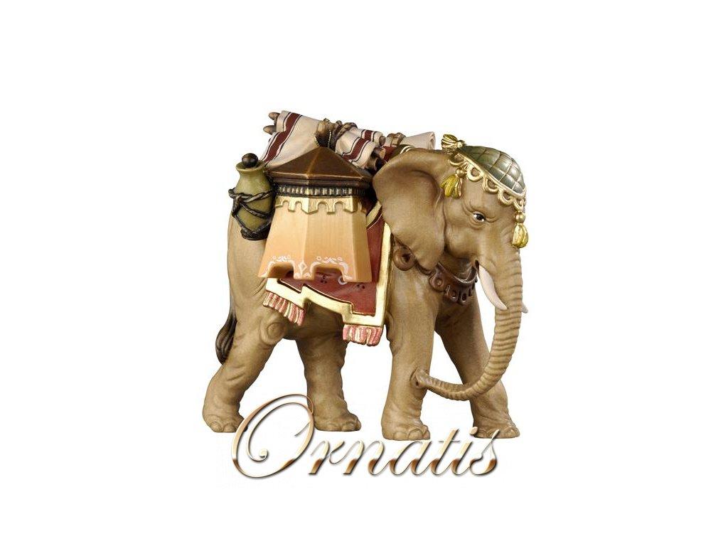 dřevěný malovaný vyřezávaný slon