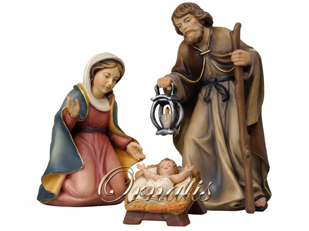 Dřevené vyobrazení Svaté rodiny (Velikost salaše Malovaná, Velikost stojících figur 22 cm)