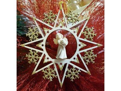 dřevěná vyřezávaná soška anděla vánoční ozdoba prodej vánočních dárků on line