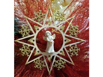 anděl se zvony dřevěná vyřezávaná soška vánoční ozdoba vánoční hvězda