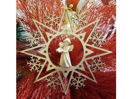 online prodej dřevěných vánočních ozdob s vyřezávanými soškami anděla