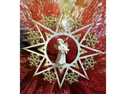 dřevěná vyřezávaná vánoční ozdoba online prodej anděl s vánoční hvězdou