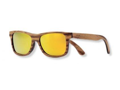Dřevěné sluneční brýle žluté