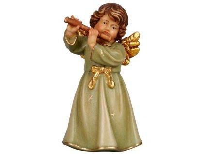 dřevěný vyřezávaný anděl s flétnou hudební andělé