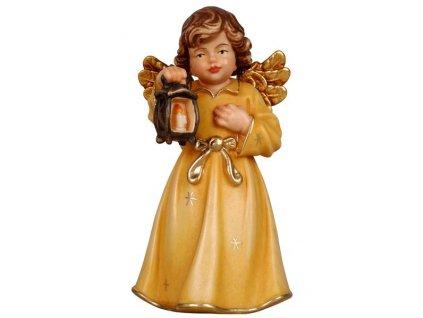 dřevěný vyřezávaný anděl s lucerničkou malovaný prodej dřevěných soch