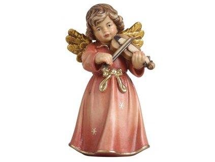 dřevěný vyřezávaný anděl s housličkami prodej dřevěných ručně malovaných soch