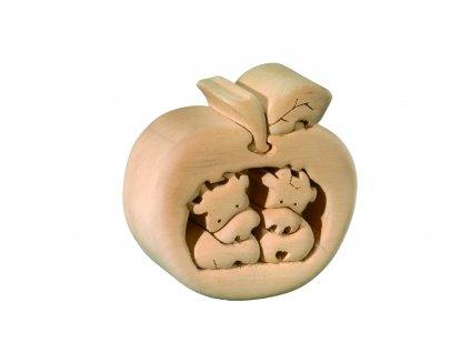 dřevěné 3D puzzle-kravičky v jablku