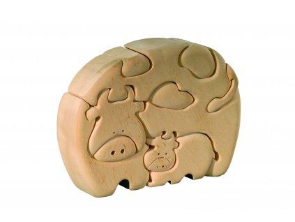 dřevěné 3D puzzle-kráva s telátkem