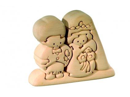 dřevěné 3D puzzle-ženich s nevěstou