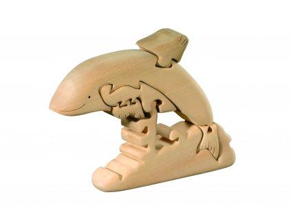 dřevěné vyřezávané 3D puzzle-delfín