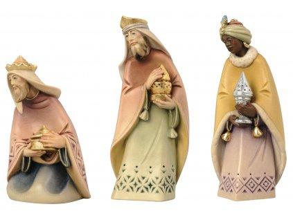 tři králové vyřezávané postavy do dřevěného betlému