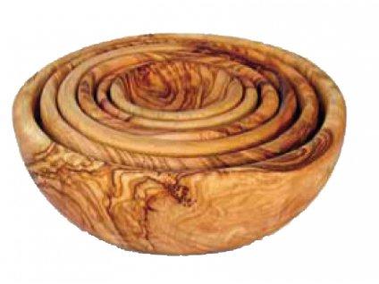 Dřevěná kulatá miska z olivového dřeva