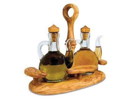 Dřevěný olivový podnos na olivový olej a balsamico