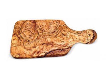 Dřevěné prkno se zaoblenými rohy s držadlem z olivového dřeva