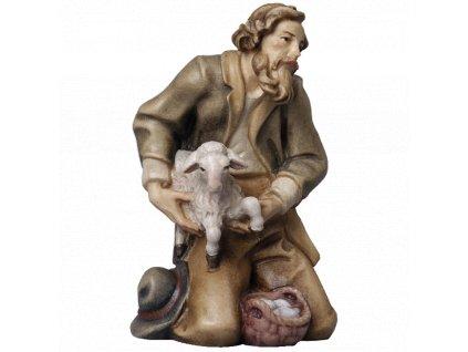 poutnik pastyr ovce dar jezisek vanoce betlem drevo