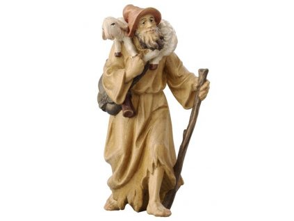 Dřevěná vyřezávaná soška pastýře s holí a jehnětem