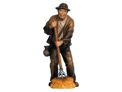 Dřevěná vyřezávaná soška pastýře s vidlemi dřevěný betlém