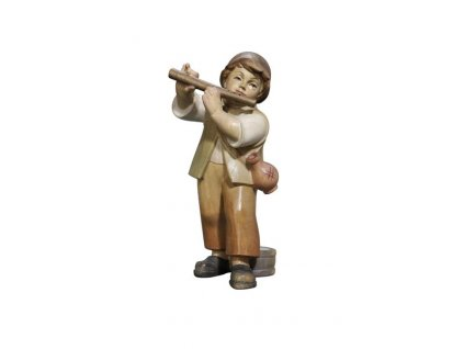 Dřevěná vyřezávaná figurka chlapce s píšťalou vhodná do vánočního betlému