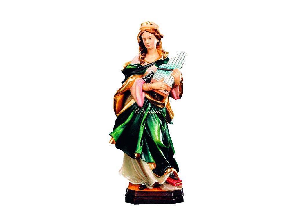 Drewniana, rzeźbiona Święta Cecylia