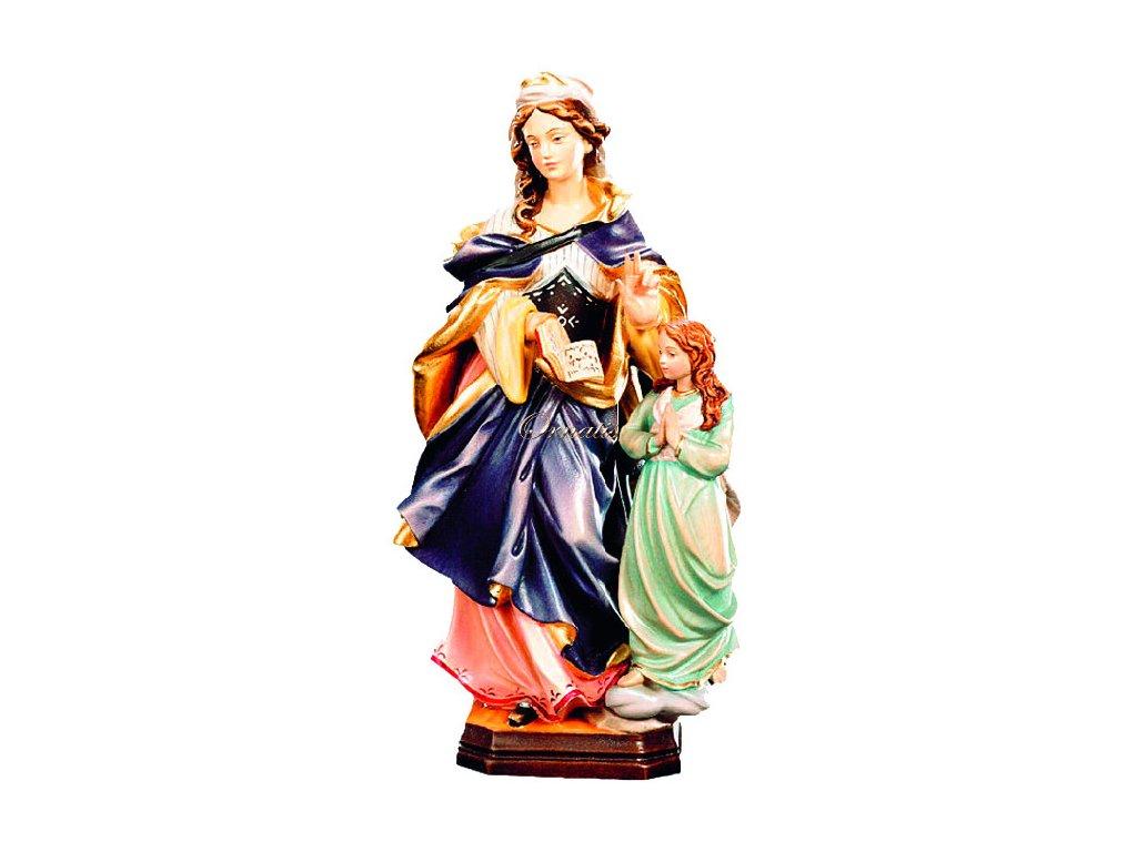 Rzeźbiona w drewnie statuetka św. Anny