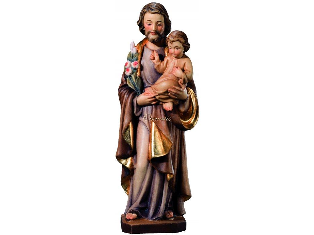 Rzeźbiona w drewnie figura św. Józefa z Dzieciątkiem