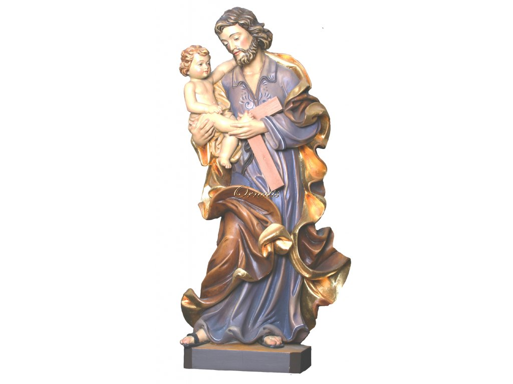 Rzeźbiona w drewnie statuetka Świętego Józefa