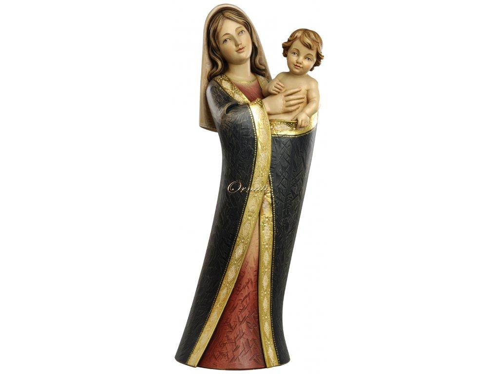 Drewniana figura Matki Boskiej z Jezusem na ręku