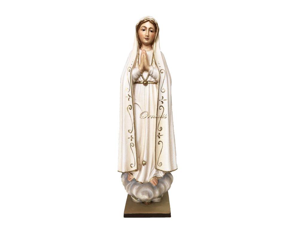 Rzeźbiona w drewnie statuetka Madonny Fatimskiej