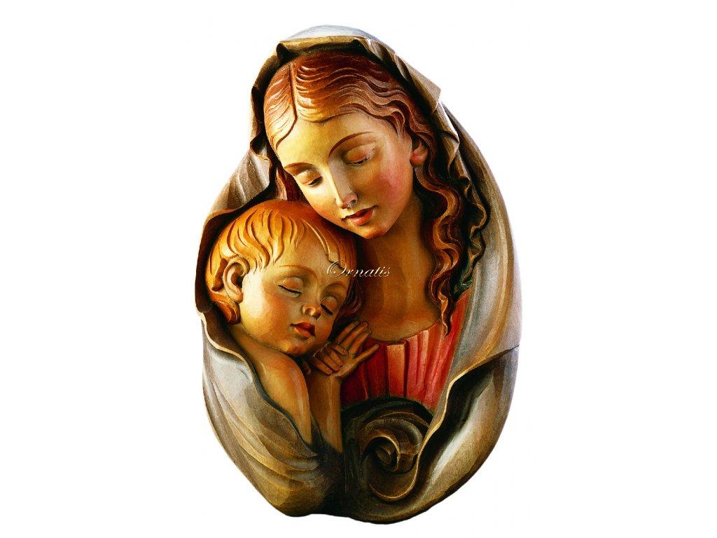 Madonna z Dzieciątkiem rzeźbiona w drewnie