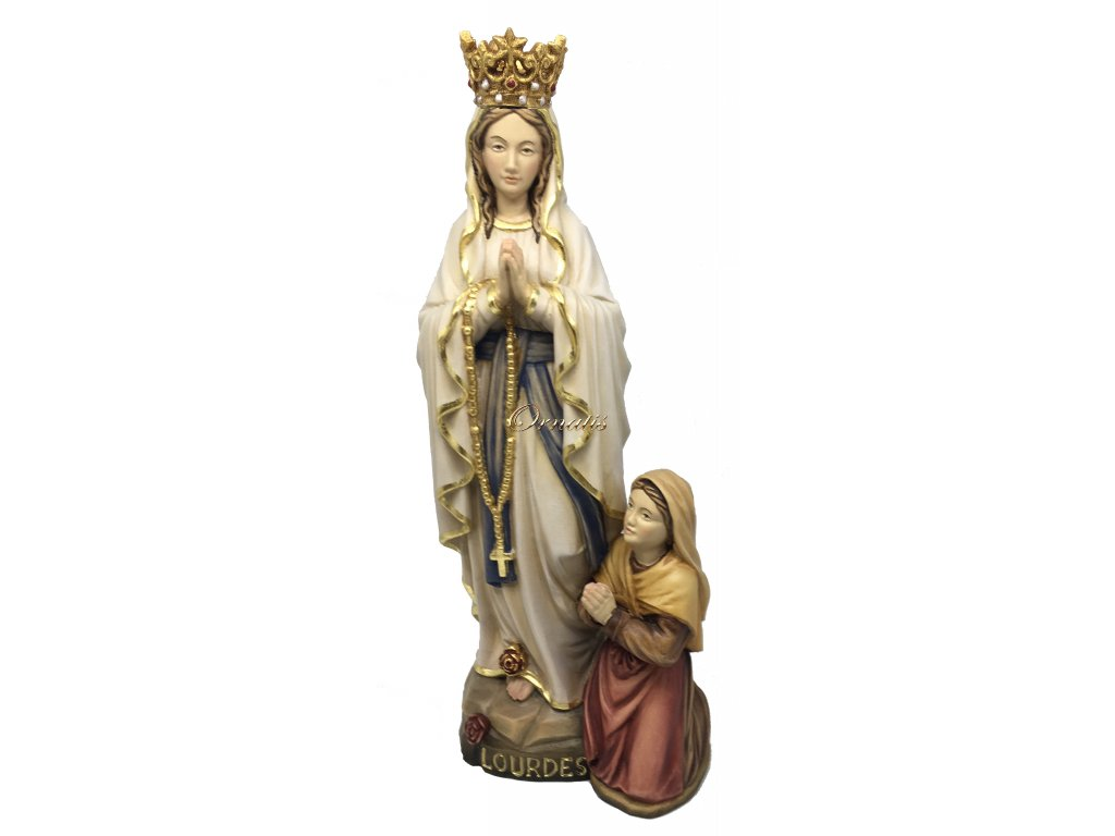 Rzeźbiona w drewnie Dziewica Maryja z Lourdes z Bernadetą
