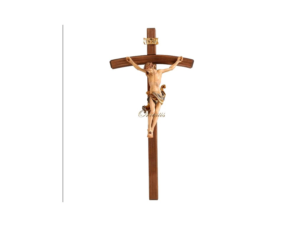 Drewniana rzeźbiona figurka Jezusa Chrystusa na krzyżu