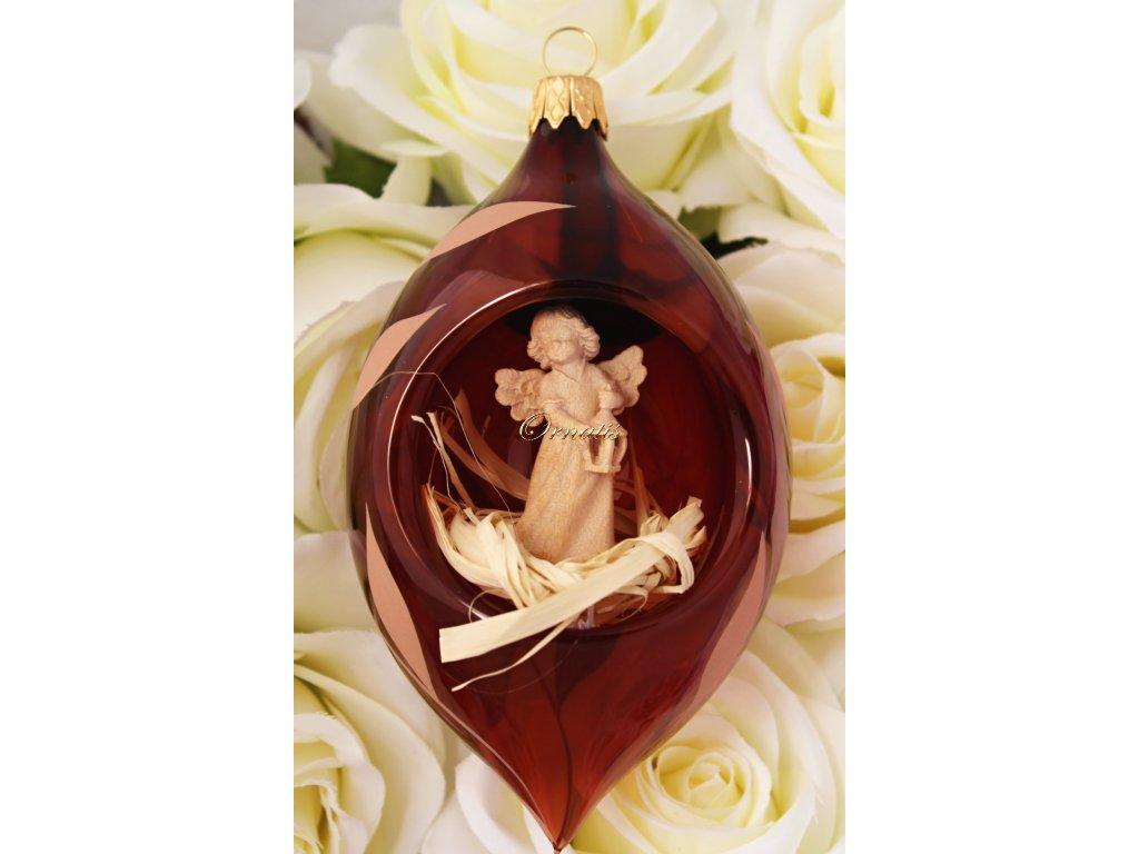 Ozdoba bożonarodzeniowa ze szkła oliwnego z drewnianą figurą anioła