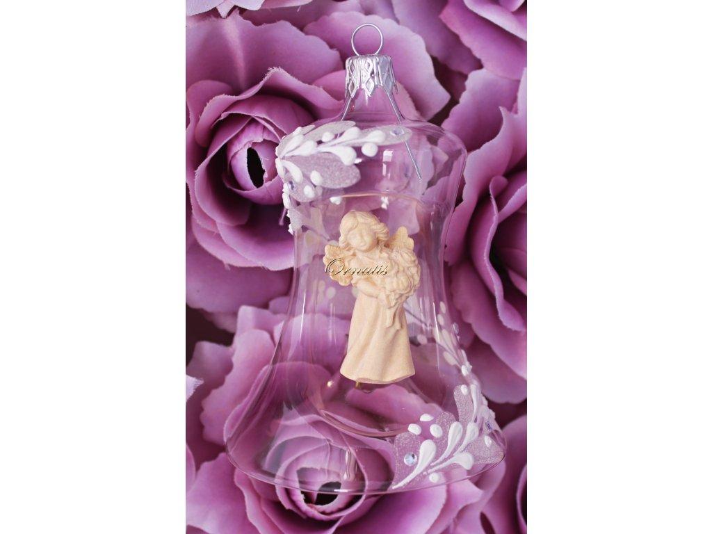 Szklany dzwonek bożonarodzeniowy z drewnianą figurą Anioła