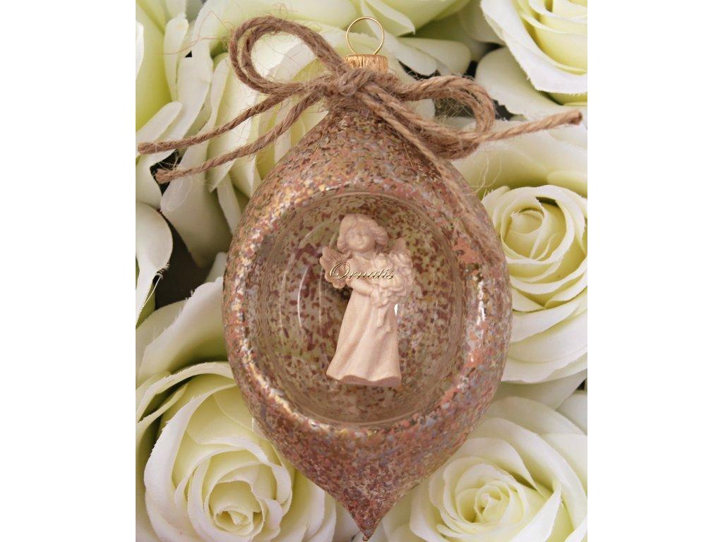VSzklana ręcznie robiona kolba w kształcie oliwki z drewnianą rzeźbioną statuetką