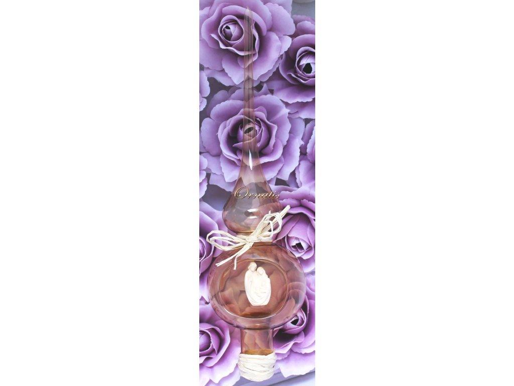 Szklana końcówka na choinkę z drewnianą figurą Świętej Rodziny