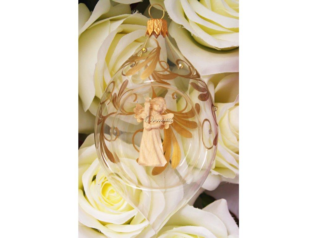 Szklana bombka z drewnianą figurką anioła