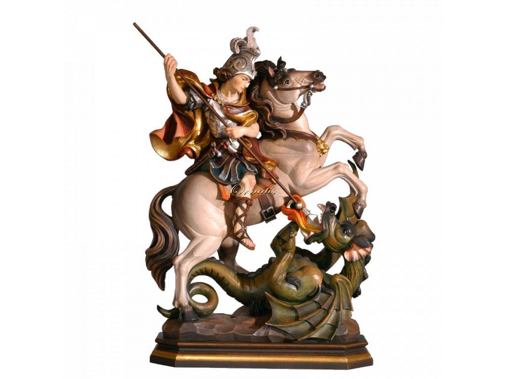 Rzeźbiona w drewnie statuetka Świętego Jerzego