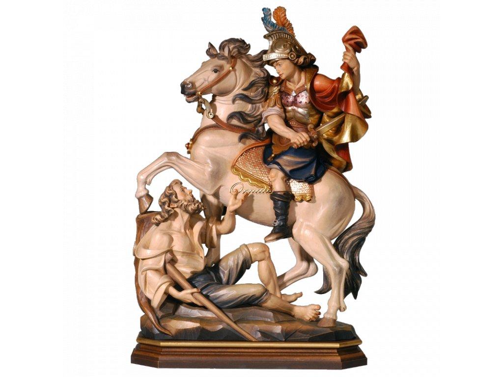 Rzeźbiona w drewnie statuetka Świętego Marcina