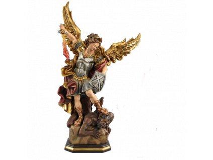 Drewniany, ręcznie rzeźbiony Archanioł Michał