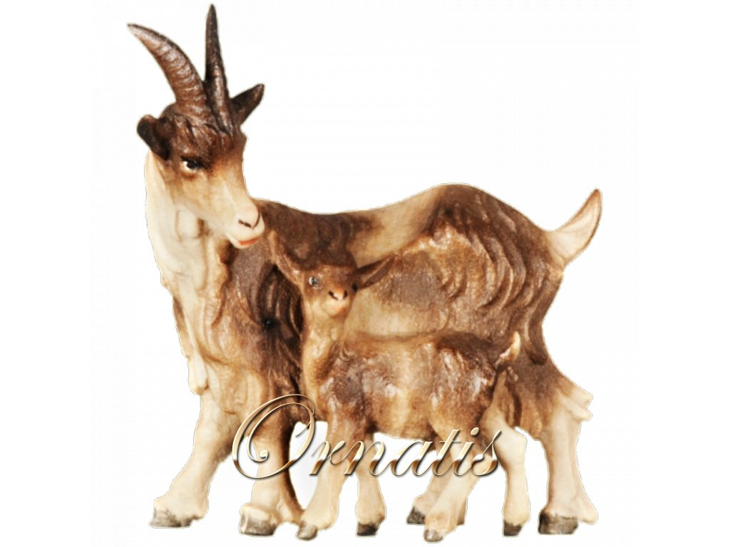 2602 (2) betlem soska drevo figurka koza malovana