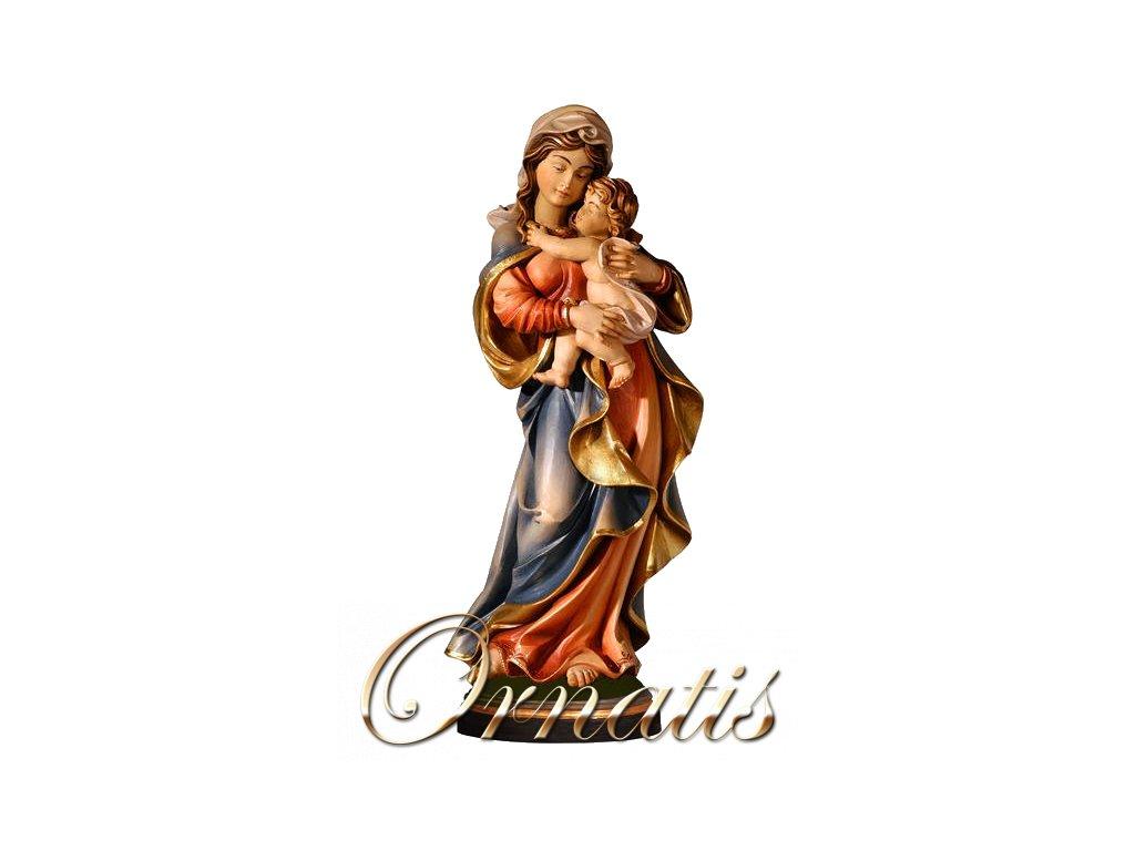 Drevená vyrezávaná ručne maľovaná soška Madony s Ježiškom