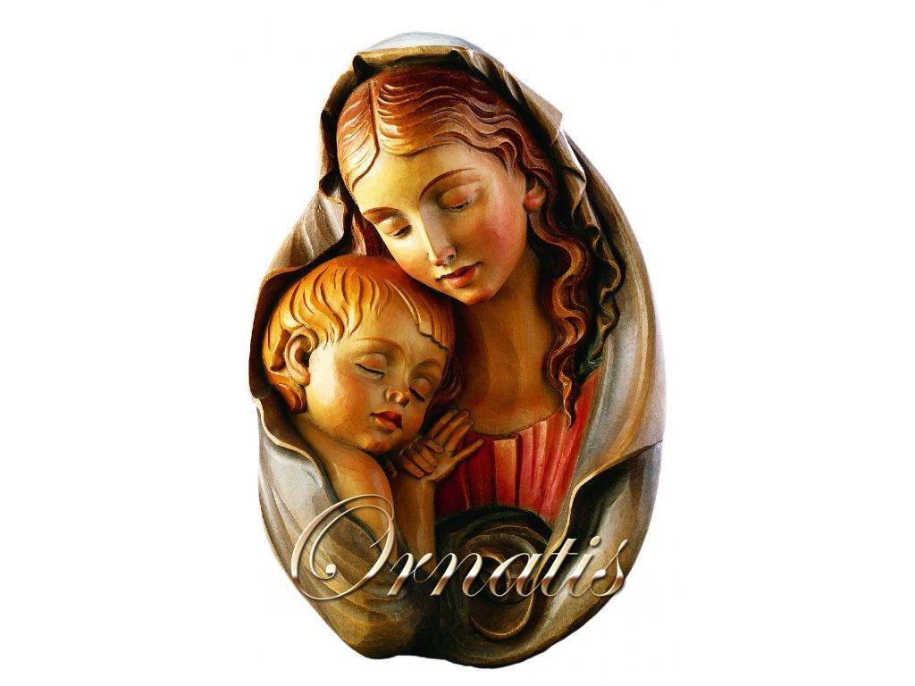 Drevená vyrezávaná Madona s dieťaťom