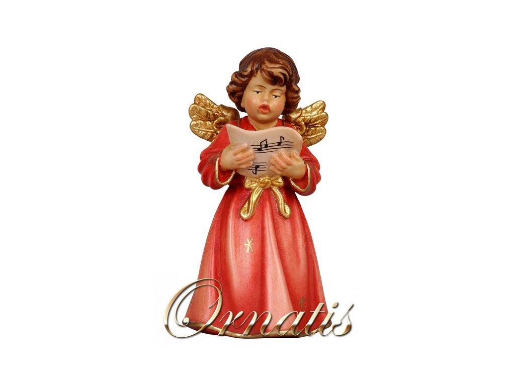 Dřevěný vyřezávaný anděl s notičkamijící anděl prodej andělů