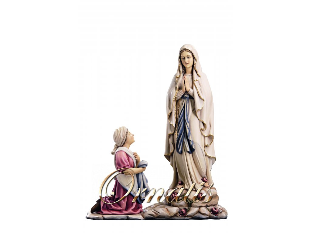 Drevená vyrezávaná Madona z Lourdes s Bernadette