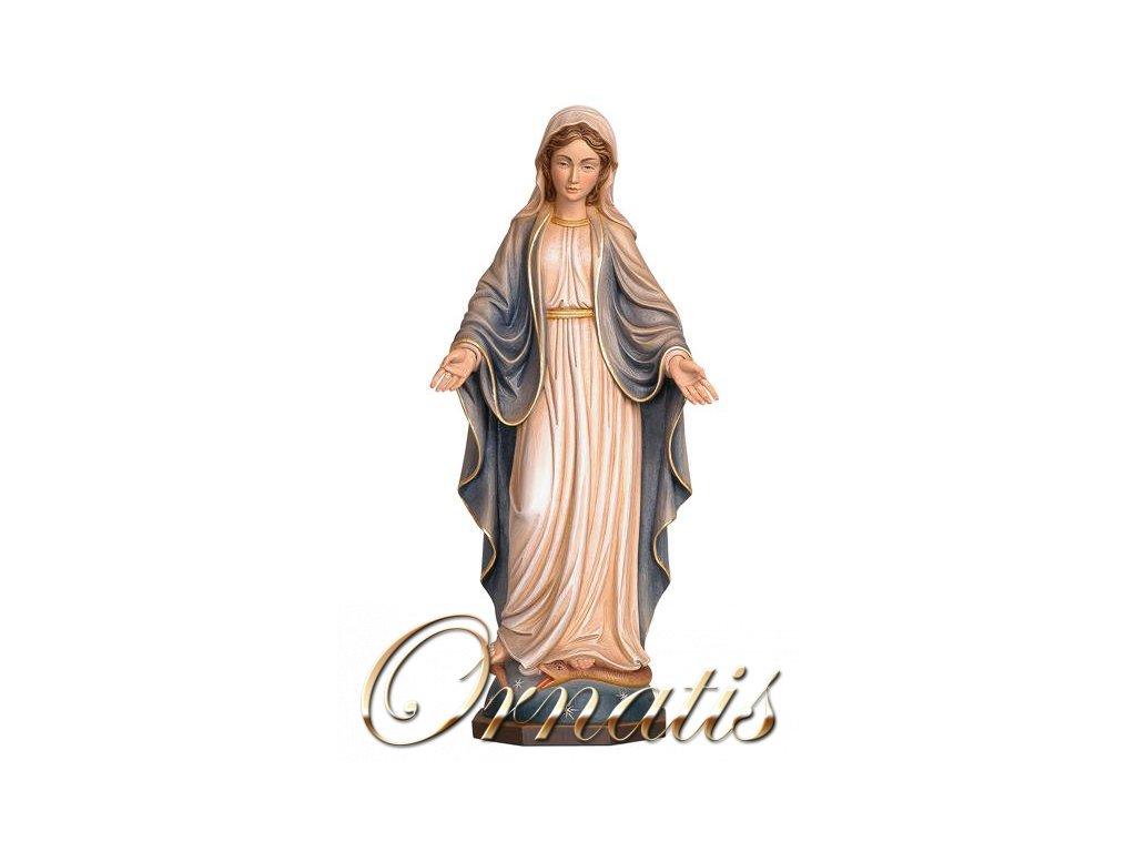 Drevená vyrezávaná ručne maľovaná soška Panny Márie nepoškvrnené