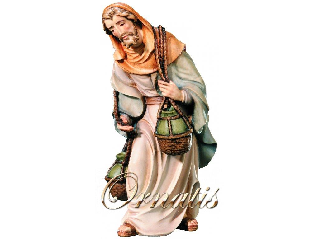Dřevěná vyřezávaná socha Pastýře z vínem