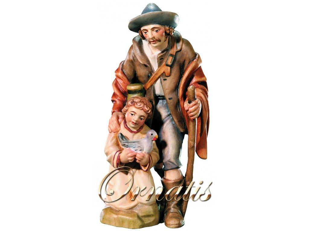 Poutník s dítětem a slepicí-prodej betlémů