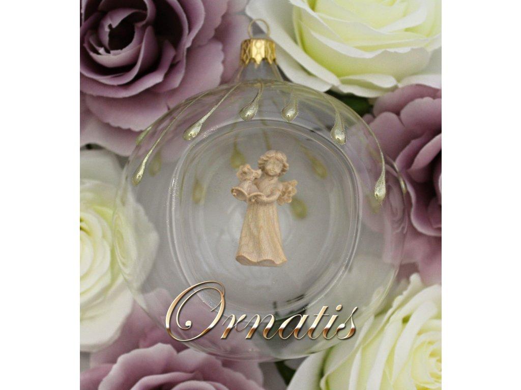 Skleněná vánoční ozdoba s dřevenou soškou anděla malovaná